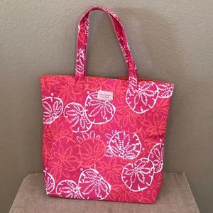 Lilly Pulitzer floral white pink open top tote bag